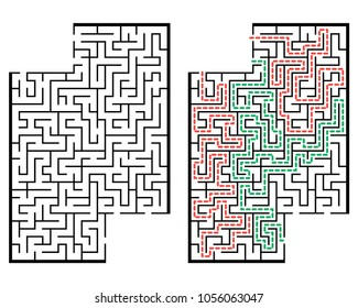 Illustration with labyrinth with places for your images, maze conundrum for kids. Baby puzzle with entry and exit. Children puzzle game.