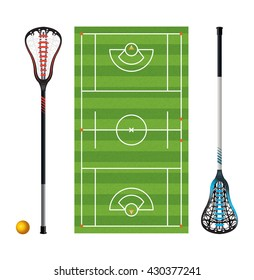An illustration of a lacrosse field with colorful lacrosse sticks and ball isolated on white. Vector EPS 10 available.
