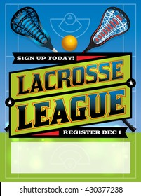An illustration for a lacrosse league flyer template. Vector EPS 10 available. Copy has been outlined in EPS.