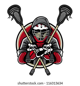 Illustration of lacrosse players was crossed lacrosse sticks and hands in the chest by wearing helmets and hoods