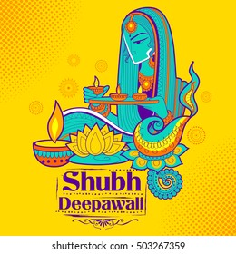 illustration of Lady burning diya on happy Holiday doodle background for light festival of India with message Shubh Deepawali meaning Happy Diwali