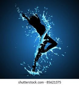 illustration of lady dancing in splash of water on abstract background