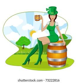 illustration of lady holding beer mug sitting on beer barrel