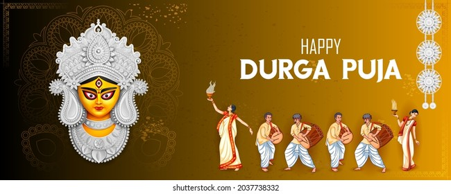 illustration of lady performing Dhunchi dance in Happy Durga Puja Subh Navratri Indian religious header banner background