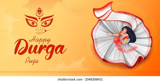illustration of lady with Sindoor Khela (vermilion)  in Happy Durga Puja Subh Navratri Indian religious header banner background