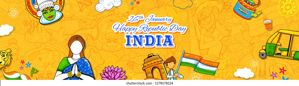 illustration of Lady in Tricolor saree of Indian flag for 26th January Happy Republic Day of India