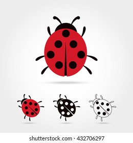 Illustration of the ladybug icon on white background Vector illustration
