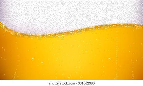 illustration of lager background with wave of bubbles