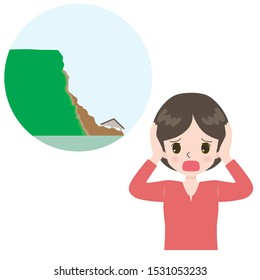 Illustration of a lamenting woman and a landslide near the house.