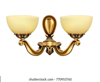 illustration lamp, sconce bronze vintage on white background