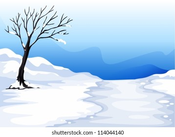 illustration of a landcape with ice in a beautiful nature