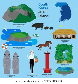 Illustration of landmarks and icons in Jeju Island, South Korea, Vector