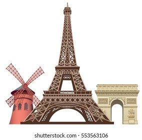 illustration of landmarks in paris, Moulin rouge, Triumphal arc and Eiffel tower
