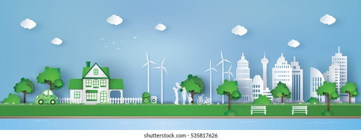 illustration of  landscape  with building and nature ,concept of eco friendly and save the earth .paper art and  digital craft style