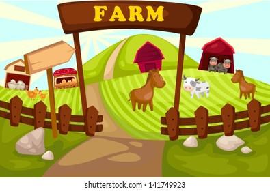 illustration of landscape cartoon farm