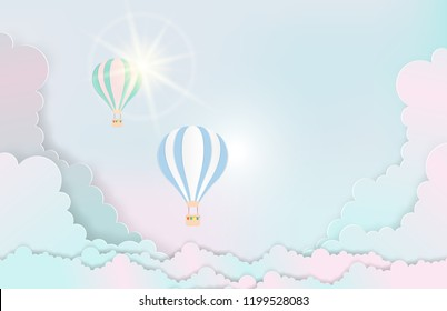 illustration of landscape and concept, Hot air balloon paper art style with pastel sky background. Vector illustration. design by paper art and digital craft style