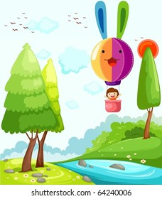 illustration of landscape hot air balloon flying