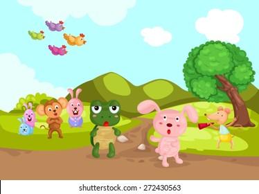 illustration of landscape turtle and rabbit racing