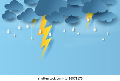 illustration of landscape view with black cloud and yellow lighting on blue sky.Rainy season in sea with storm lightning,Creative design paper art and craft style. vector poster,web-site with print