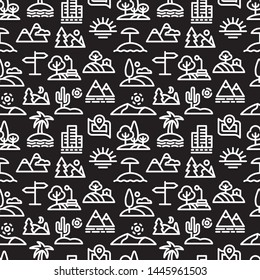 illustration of landscapes and nature seamless pattern