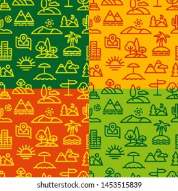 illustration of landscapes and nature seamless patterns, file includes 5 patterns in the swatches