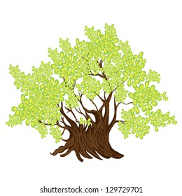 An Illustration of Landscaping Beautiful Tree Symbol or Isometric Tree and Plant for Garden Decoration
