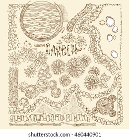 Illustration landscaping design. Planning summer garden popular elements pool, path stone, hedge, fence, stones garden, trees, decorative plants, flowers, dry river, bush, ground item top view.