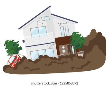 Illustration of landslide disaster.
