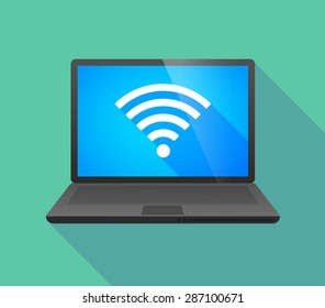 Illustration of a laptop icon with a radio signal sign
