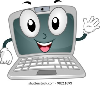 Illustration of a Laptop Mascot Waving Happily
