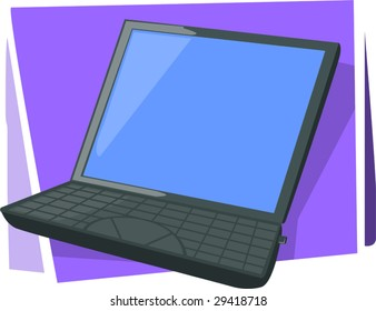 illustration of laptop in violet colour background