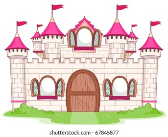 Illustration of a Large Castle with Open Windows