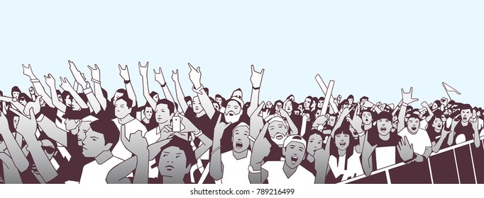 Illustration of large crowd of people cheering at concert with raised hands in color