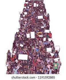 Illustration of large crowd protest demonstration with blank signs banners