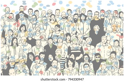 Illustration of large group of people smiling and posing for a photograph in colorful festive atmopshere
