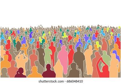 Illustration of large mass of people in perspective in color