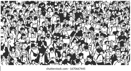 Illustration of large protesting crowd