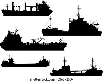 illustration with large ship silhouettes collection isolated on white background