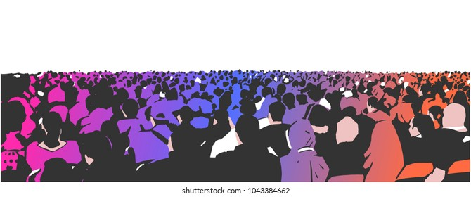 Illustration of large sitting audience in color