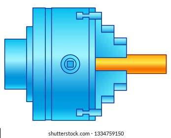 Illustration of the lathe chuck side view with shaft