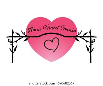 illustration with Latin phrase: amor vincit omnia (love conquers all)