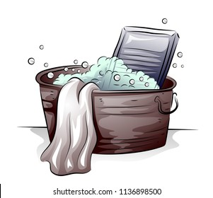 Illustration of Laundry Wash Tub Full of Water with Bubbles, Towel and Washing Board