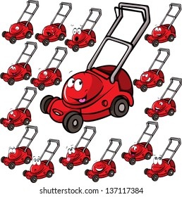 Illustration of lawn mower with face