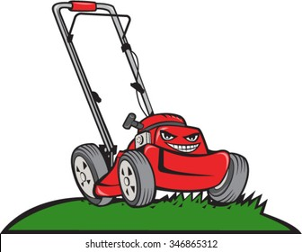 Illustration of a lawnmower on grass viewed from front set on isolated white background done in cartoon style.