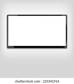 Illustration LCD or LED tv screen hanging on the wall - vector