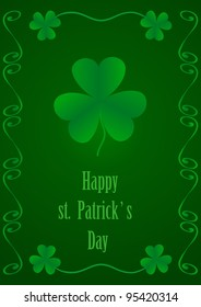 illustration  of a leaf clover to the st.Patrick Day isolated on green  background