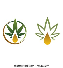 Illustration of a leaf of marijuana with a drop of oil. medical logo