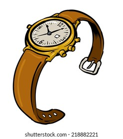 An Illustration of a leather and gold wristwatch