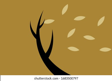 Illustration of leaves falling off from a tree