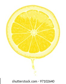 Illustration of a lemon slice with juice dripping